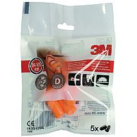 3M Ear Plugs 1100 37dB High Visibility Orange Pack of 5