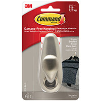 3M Command Brushed Nickel Metal Hanging Hook And Adhesive Strips Large FC13-BN-ES