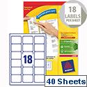 Avery L7161-40 Address Labels Laser 18 per Sheet 63.5x46.6mm White 720 Labels