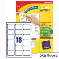 Avery L7161-250 Addressing Labels Laser 18 per Sheet 63.5x46.6mm White 4500 Labels