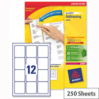 Avery L7164-250 Address Labels Laser 12 per Sheet 63.5x72mm White 3000 Labels