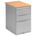 Pedestal Steel Desk-High Wood Top 3-Drawer Beech Bisley