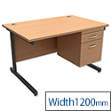 Desk Rectangular 2-Drawer Filer Pedestal Graphite Legs W1200mm Beech Trexus Contract