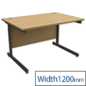 Office Desk Rectangular Graphite Legs W1200mm Oak Trexus Contract