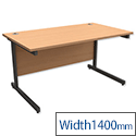 Office Desk Rectangular Graphite Legs W1400mm Beech Trexus Contract