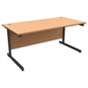Office Desk Rectangular Graphite Legs W1600mm Beech Trexus Contract