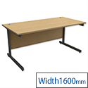 Office Desk Rectangular Graphite Legs W1600mm Oak Trexus Contract