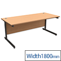Office Desk Rectangular Graphite Legs W1800mm Beech Trexus Contract