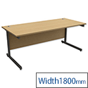 Office Desk Rectangular Graphite Legs W1800mm Oak Trexus Contract