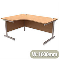 Office Desk Radial Left Hand Silver Legs W1600xD1200xH725mm Beech Ashford
