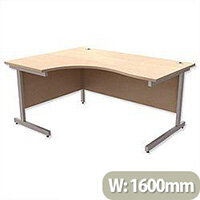 Office Desk Radial Left Hand Silver Legs W1600xD1200xH725mm Maple Ashford