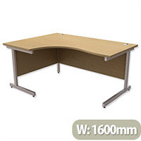 Office Desk Radial Left Hand Silver Legs W1600xD1200xH725mm Urban Oak Ashford