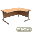 Office Desk Radial Right Hand Silver Legs Beech Trexus Contract