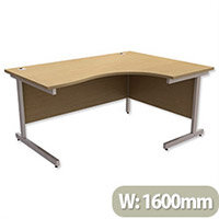 Office Desk Radial Right Hand Silver Legs W1600xD1200xH725mm Urban Oak Ashford