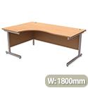 Office Desk Radial Left Hand Silver Legs W1800mm Beech Ashford