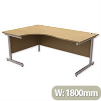 Office Desk Radial Left Hand Silver Legs W1800xD1200xH725mm Urban Oak Ashford