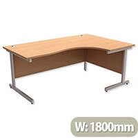Office Desk Radial Right Hand Silver Legs W1800xD1200xH725mm Beech Ashford