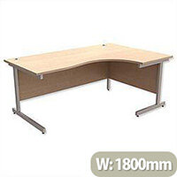 Office Desk Radial Right Hand Silver Legs W1800xD1200xH725mm Maple Ashford