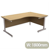 Office Desk Radial Right Hand Silver Legs W1800xD1200xH725mm Urban Oak Ashford