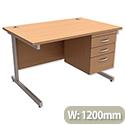 Office Desk Rectangular 3-Drawer Pedestal Silver Legs W1200mm Beech Trexus Contract