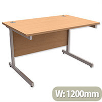 Office Desk Rectangular Silver Legs W1200mm Beech Ashford