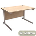 Office Desk Rectangular Silver Legs W1200mm Maple Trexus Contract