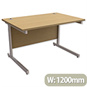 Office Desk Rectangular Silver Legs W1200mm Oak Trexus Contract
