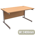 Office Desk Rectangular Silver Legs W1400mm Beech Trexus Contract
