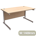 Office Desk Rectangular Silver Legs W1400mm Maple Trexus Contract