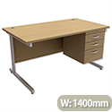 Office Desk Rectangular 3-Drawer Pedestal Silver Legs W1400mm Oak Trexus Contract