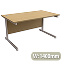 Office Desk Rectangular Silver Legs W1400mm Oak Trexus Contract