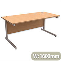 Office Desk Rectangular Silver Legs W1600mm Beech Ashford