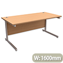 Office Desk Rectangular Silver Legs W1600mm Beech Trexus Contract