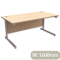 Office Desk Rectangular Silver Legs W1600mm Maple Trexus Contract
