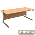 Office Desk Rectangular Silver Legs W1800mm Beech Trexus Contract