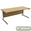 Office Desk Rectangular Silver Legs W1800mm Oak Trexus Contract