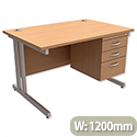 Beech 3 Drawer 1200mm Rectangular Desk Cantilever Silver Legs Trexus Contract Plus