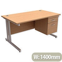 Trexus Contract Plus Cantilever Office Desk Rectangular 2-Drawer Pedestal Silver Legs W1400xD800xH725mm Beech