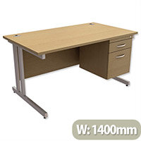 Trexus Contract Plus Cantilever Office Desk Rectangular 2-Drawer Pedestal Silver Legs W1400xD800xH725mm Oak
