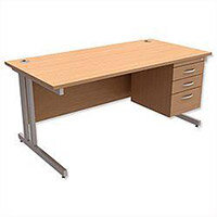 Trexus Contract Plus Cantilever Office Desk Rectangular 3-Drawer Pedestal Silver Legs W1600xD800xH725mm Beech