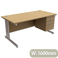 Trexus Contract Plus Cantilever Office Desk Rectangular 3-Drawer Pedestal Silver Legs W1600xD800xH725mm Oak