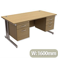 Trexus Contract Plus Cantilever Office Desk Rectangular Double Pedestal Silver Legs W1600xD800xH725mm Oak