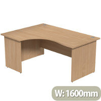 Radial Office Desk Panelled Left Hand W1600xD1200xH725mm Beech Ashford