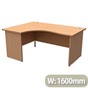 Trexus Classic Radial Office Desk Panelled Left Hand W1600xD1200xH725mm Beech