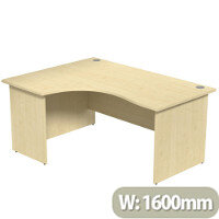 Radial Office Desk Panelled Left Hand W1600xD1200xH725mm Maple Ashford