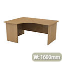 Radial Office Desk Panelled Left Hand W1600xD1200xH725mm Urban Oak Ashford