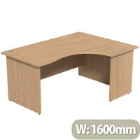 Radial Office Desk Panelled Right Hand W1600xD1200xH725mm Beech Ashford