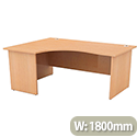 Radial Office Desk Panelled Left Hand W1800xD1200xH725mm Beech Ashford
