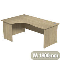 Radial Office Desk Panelled Left Hand W1800xD1200xH725mm Urban Oak Ashford