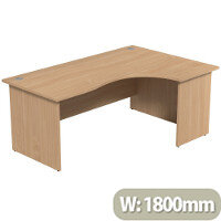 Radial Office Desk Panelled Right Hand W1800xD1200xH725mm Beech Ashford